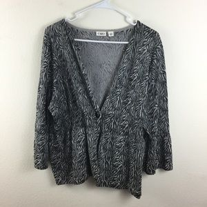 CATO XL SPARKLY FLARE SLEEVE CARDIGAN SWEATER